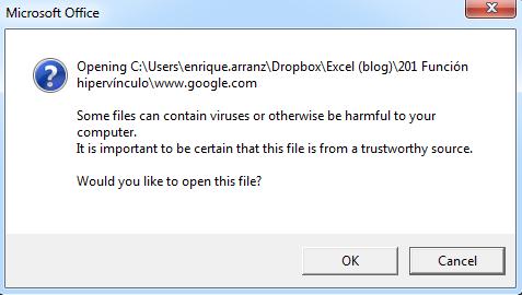 pantalla de aviso de documento no encontrado en excel