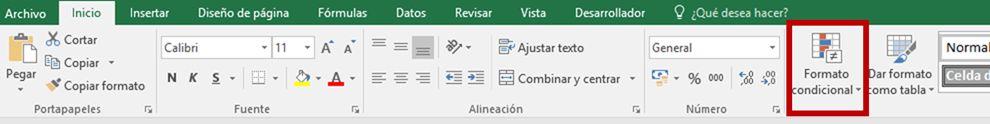 barra de opciones formato condicional