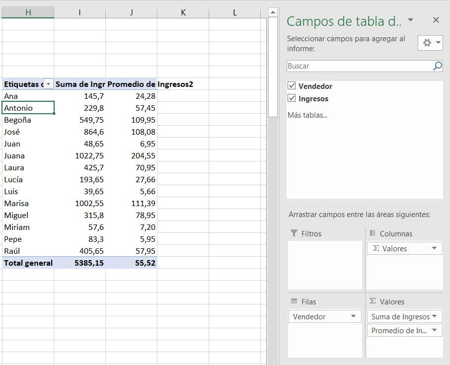 qué es una tabla dinámica ejemplo